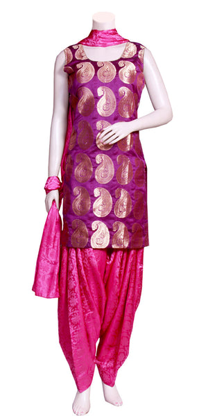 Purple-Magenta Color, Banarasi & Jacquard Art-Silk Patiala Salwar Suit