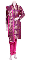 Pink & Purple Banarasi Churidar Pajami Suit