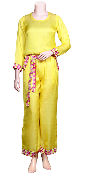 Yellow Color Viscose/Satin Silk full Sleeve & slant pockets with Embroidery Lace Long Jumpsuit