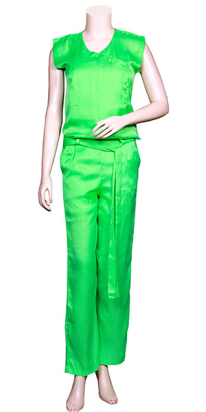 Parrot Green Color Super Viscose Silk Cap Sleeve & slant pockets, Satin waist-tie Belt Long Jumpsuit