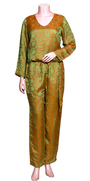 Olive & Goldenrod Color Jacquard Silk full Sleeve & slant pockets, Long Jumpsuit
