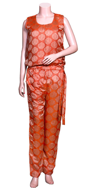 Dark Golden & Orange Red Color Jacquard Silk without Sleeve & slant pockets, Long Jumpsuit