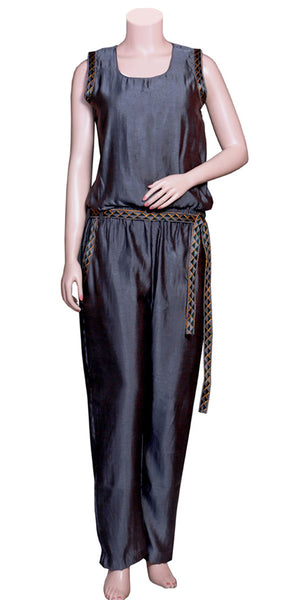 Black Color Viscose/Satin Silk without Sleeve & slant pockets with Embroidery Lace long Jumpsuit