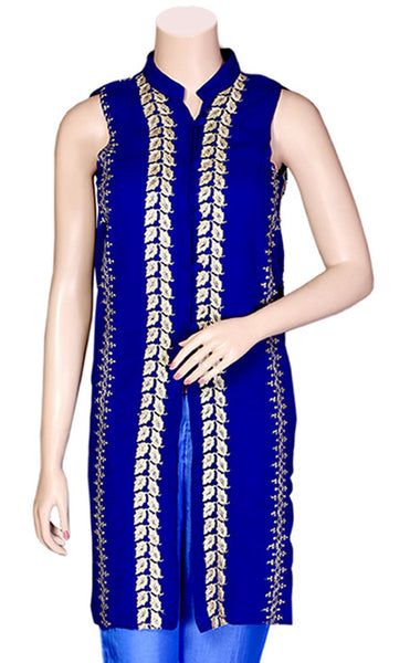 Shop designer Indian hand embroidered jackets at the best rates in the USA & Canada.  Blue Georgette Sleeveless jacket top Zari leaf golden embroidery collar neck button front open closure long length Ethnic traditional wedding party wear handmade custom formal fashion BOHO stylish Darpaha buy sale