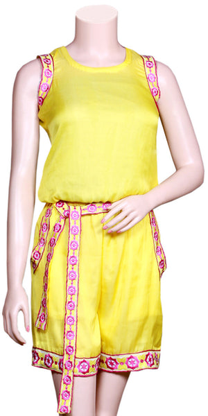 Yellow Color Viscose/Satin Silk without Sleeve & slant pockets with Embroidery Lace half Jumpsuit