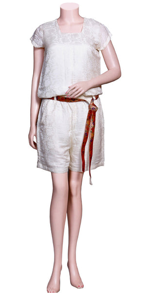 Bright Off-white Color Jacquard silk Short Sleeve & slant pockets, Pleated, waist-tie Belt Jumpsuit