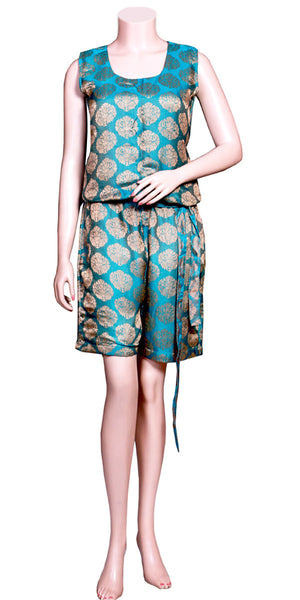 Sky Blue & Golden Color Jacquard Art silk without Sleeve & slant pockets, waist-tie Belt half Jumpsuit