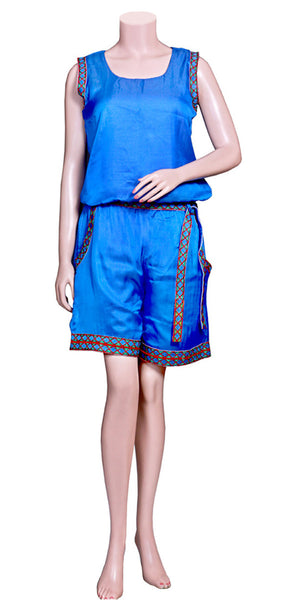 Blue Color Viscose/Satin Silk without Sleeve & slant pockets with Embroidery Lace half Jumpsuit