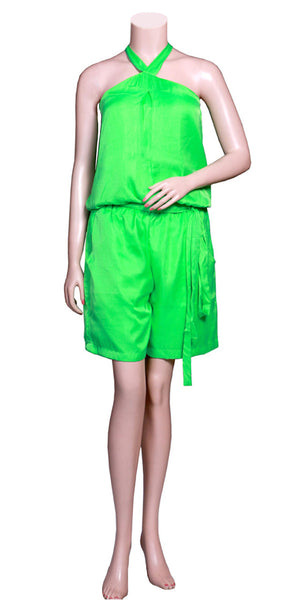 Parrot Green Color Super Viscose Silk without Sleeve, halter Neck & slant pockets, Satin waist-tie Belt Jumpsuit