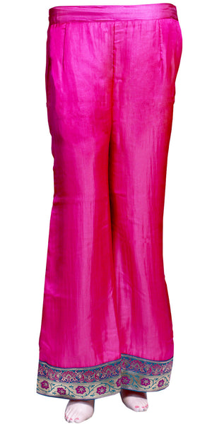Magenta color wide-legged pants/trouser, art silk Palazzo Pants