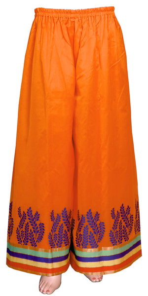 Orange-Red color wide-legged pants/trouser, Banarasi art silk Palazzo Pants
