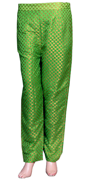 Golden Spiral Banarasi Art Silk Cigarette Pants