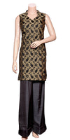 Buy designer Indian silky palazzo suit dresses at the best rates in the USA & Canada. Black & gold Sleeveless brocade silk Kurti with black satin silk palazzos. Silky & Shiny Comfortable suit casual Ethnic traditional wedding party handmade fashion elegant wide BOHO festival occasion party wear stylish Darpaha Sale