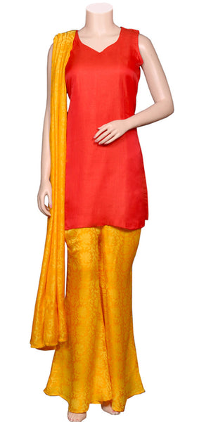 Red cut sleeve Tunic/Top & Orange color jacquard Art-Silk Palazzo & Dupatta Dress
