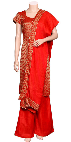 Bright Jacquard-weaving & Soft Viscose silk Red Color 3pcs Palazzo Suit/Dress