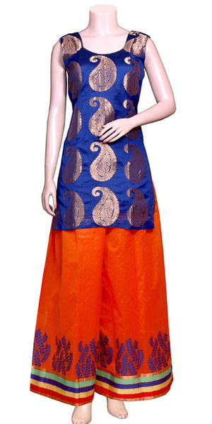 Handloom Jacquard Banarasi art silk Blue & Red-orange color Palazzo & Top