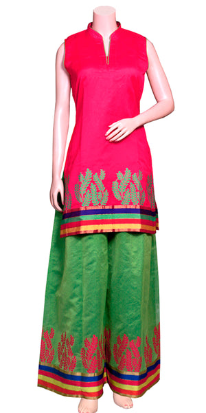 Buy designer Indian silky palazzo suit dresses at the best rates in the USA & Canada. Hot Pink & Bright Green Banarasi art silk Kurti & pants. Sleeveless paisley print multicolor border Ethnic traditional wedding party handmade shiny fashion casual wide BOHO festival occasion party wear stylish Darpaha Sale