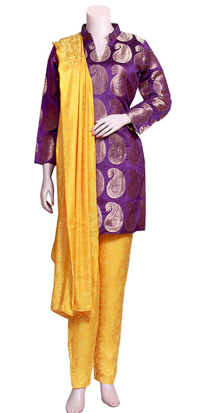 Buy designer Indian Banarasi silk palazzo & pant suits at the best rates in the USA & Canada. Purple Banarasi art silk Kurti & yellow  jacquard silk pants & dupatta. Full sleeves paisley print golden thread work floral pattern Ethnic wedding party shiny fashion casual festival occasion party wear stylish Darpaha Sale