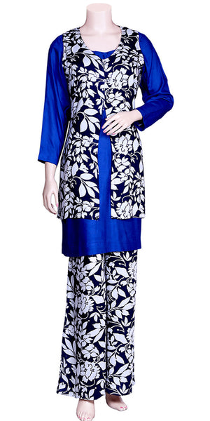 Blue & White Floral Palazzo Set with Jacket