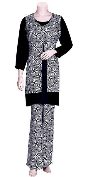 Black Color Printed Palazzo Dress with Jacket MPS1591028