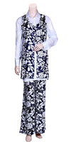 Buy Palazzo Pants Blouse & Jacket Co-ord Sets at the best rates in the USA & Canada. Dark Navy Blue & White printed palazzos & jacket with solid white button up collared shirt. Long top full sleeves wide legged pants fashion chic BOHO casual work outfit party wear loose comfortable matching top bottom easy Darpaha Sale