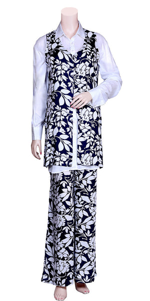 White Color Printed Palazzo Dress with Jacket MPS1591049