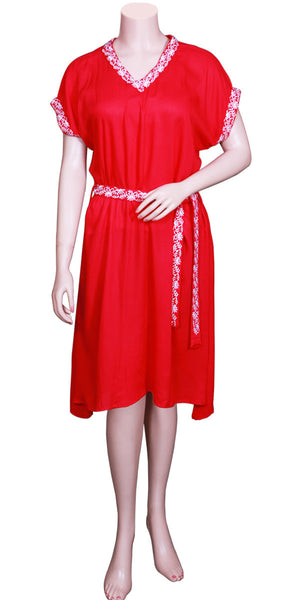 Buy designer Indo-western Boho fashion dresses at the best rates in the USA & Canada. Red solid midi dress soft cool Rayon fabric. Below knee length half sleeves belt chemical free permanent dye embroidered white border Comfortable casual fit flare a line Summer fashionable chic modern contemporary style Darpaha Sale