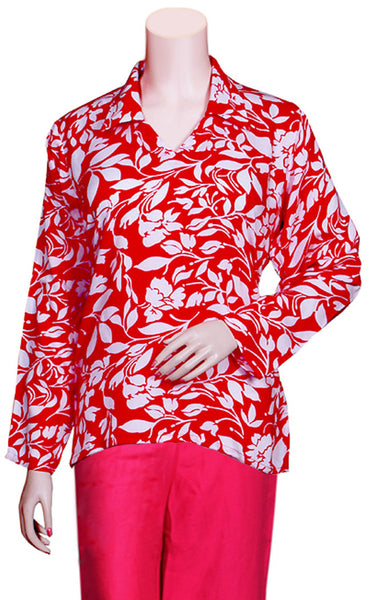 Pure Rayon Fabric Top with Shirt collar and full sleeves