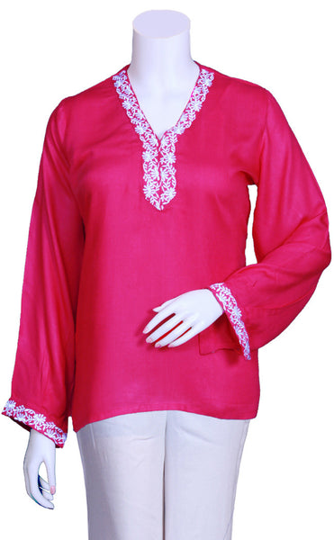 Pink color Rayon fabric Long sleeves Top/blouse