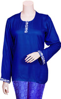 Navy Blue color Rayon fabric Long sleeves Top/blouse