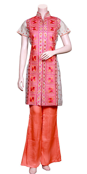 Phulkari Embroidery Top & Silk Palazzo Dress MPS15509