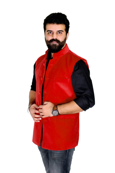 Red Color Superior quality Cotton Velvet Jacket, also called traditional Nehru Jacket or Modi Jacket