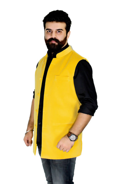 Yellow Color Superior quality Cotton Velvet Jacket, also called traditional Nehru Jacket or Modi Jacket.