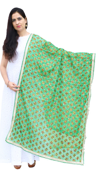 Light Green Phulkari Chiffon Dupatta with Lace & Sequins