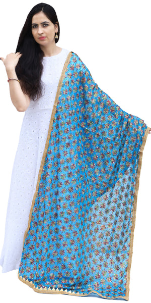 Sky Blue Phulkari Chiffon Dupatta with Lace & Sequins