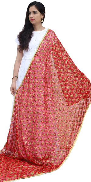 Buy designer Indian phulkari hand embroidered dupattas, stoles & chunnis at the best rates in the USA & Canada. Red Punjabi Phulkari gota patti border sequins work. Ethnic Indian traditional wedding party festival fashion suit wrap accessories handloom handmade handwork multi color silk thread shop online Darpaha Sale