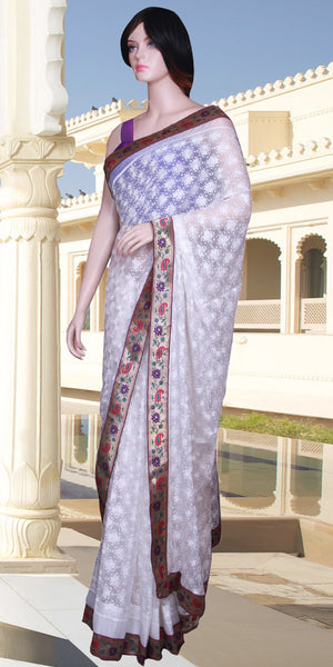 White color Phulkari embroidered with Banarasi Border Saree/Sari