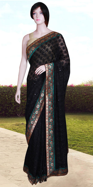 Black color Phulkari embroidered with Banarasi Border Saree/Sari