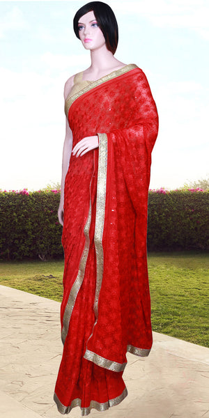 Red color Phulkari embroidered Saree/Sari