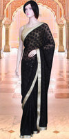 Black color Phulkari embroidered Saree/Sari