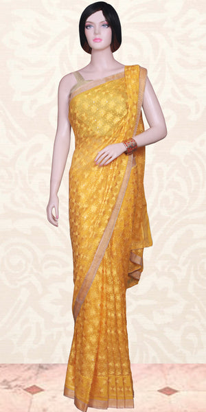 Buy stunning designer Indian phulkari Sarees/Saris at the best rates in USA & Canada. Yellow Punjabi embroidery golden soft tissue border sequins petticoat fall matching ethnic traditional wedding party festival fashion evening occasion outfit dress festival function stylish unique bridesmaid shop online Darpaha Sale