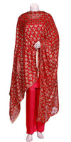 Buy designer Indian phulkari hand embroidered dupattas, stoles & chunnis at the best rates in the USA & Canada. Bright Red Punjabi Phulkari with sequins work. Ethnic Indian traditional wedding party festival fashion wrap accessories handloom handmade handwork color silk thread shop online shining glitter Darpaha Sale
