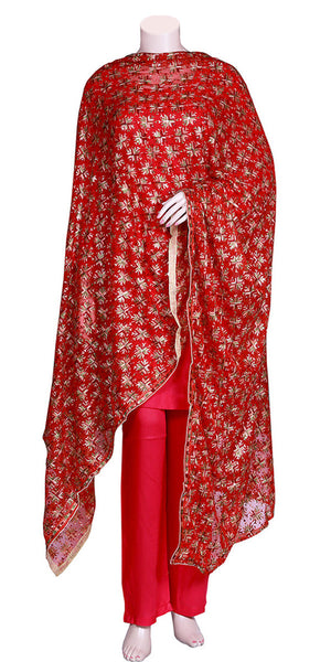 Red Color Machine Embroidered Phulkari Dupatta/Stole/Scarf/Hijab