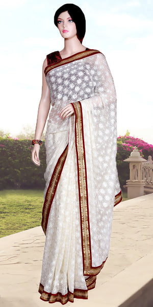 White color Phulkari embroidered with Heavy Border Saree/Sari
