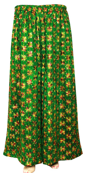 Green Phulkari Embroidered Wide Leg Palazzo Pants with Pocket