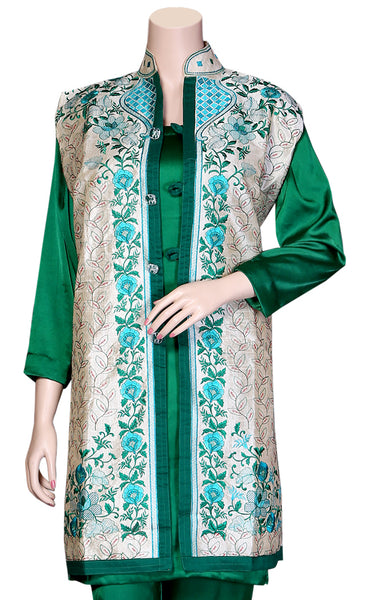 Green & Sky-blue color Flower Designs Phulkari Embroidered Silver Color Khadi Silk  Jacket