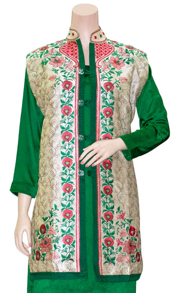 Shop designer Indian hand embroidered jackets at the best rates in the USA & Canada.  Red Green Floral Khadi Silk Sleeveless jacket top Punjabi Phulkari embroidery collar neck button front open closure long length border Ethnic traditional wedding party wear handmade custom formal fashion BOHO stylish Darpaha buy sale