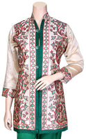 Shop designer Indian hand embroidered jackets at the best rates in the USA & Canada. Beige Red Green Khadi Silk 3/4 sleeves jacket top Punjabi Phulkari embroidery collar neck button front open closure long length borders Ethnic traditional wedding party wear handmade custom formal fashion BOHO stylish Darpaha buy sale