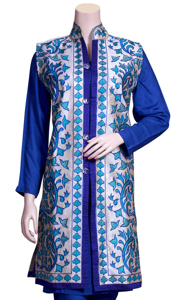 Shop designer Indian hand embroidered jackets at the best rates in the USA & Canada.  Dark & Light Blue Khadi Silk Sleeveless jacket top Punjabi Phulkari embroidery collar neck button front open closure long length border Ethnic traditional wedding party wear handmade custom formal fashion BOHO stylish