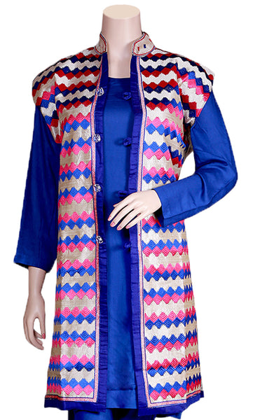Blue & Hot-pink color Designs Phulkari Embroidered Silver Color Khadi Silk Jacket